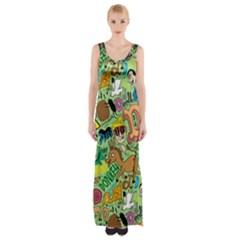 D Pattern Maxi Thigh Split Dress