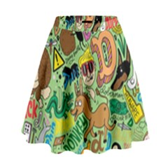 D Pattern High Waist Skirt