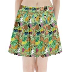 D Pattern Pleated Mini Skirt