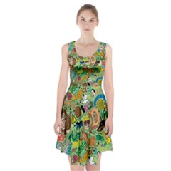 D Pattern Racerback Midi Dress