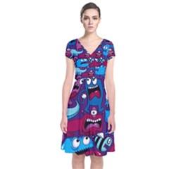 Deep Wow Purple Cartoons Short Sleeve Front Wrap Dress