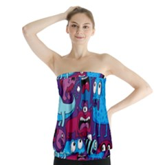 Deep Wow Purple Cartoons Strapless Top