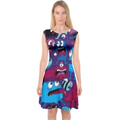 Deep Wow Purple Cartoons Capsleeve Midi Dress