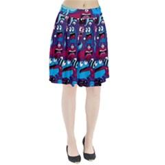 Deep Wow Purple Cartoons Pleated Skirt