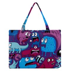 Deep Wow Purple Cartoons Medium Zipper Tote Bag