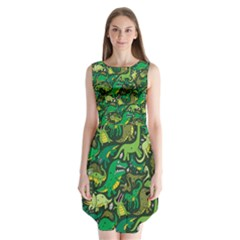 Dino Pattern Cartoons Sleeveless Chiffon Dress