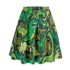 Dino Pattern Cartoons High Waist Skirt