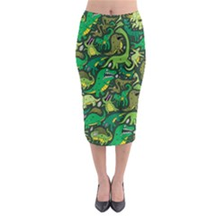 Dino Pattern Cartoons Midi Pencil Skirt