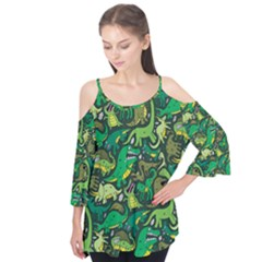 Dino Pattern Cartoons Flutter Tees
