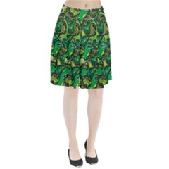 Dino Pattern Cartoons Pleated Skirt