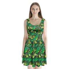 Dino Pattern Cartoons Split Back Mini Dress