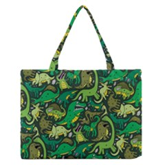 Dino Pattern Cartoons Medium Zipper Tote Bag