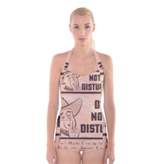 Do Not Disturb I Want To Sleep Thanks Boyleg Halter Swimsuit