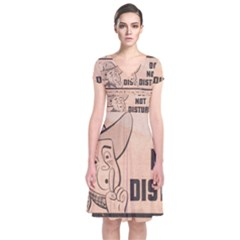 Do Not Disturb I Want To Sleep Thanks Short Sleeve Front Wrap Dress