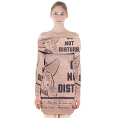 Do Not Disturb I Want To Sleep Thanks Long Sleeve Off Shoulder Dress