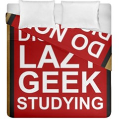 Do Not Disturb Lazy Geek Studying Glass Framed Poster Duvet Cover Double Side (king Size)