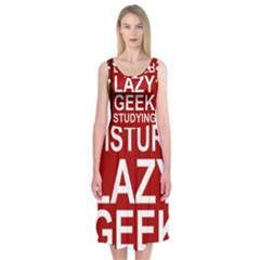 Do Not Disturb Lazy Geek Studying Glass Framed Poster Midi Sleeveless Dress