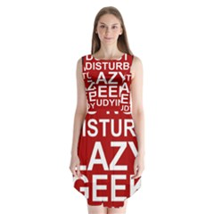 Do Not Disturb Lazy Geek Studying Glass Framed Poster Sleeveless Chiffon Dress