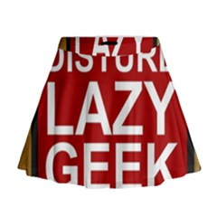 Do Not Disturb Lazy Geek Studying Glass Framed Poster Mini Flare Skirt