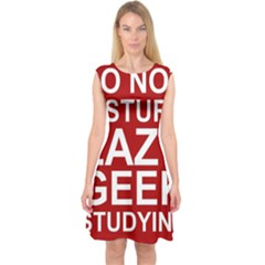 Do Not Disturb Lazy Geek Studying Glass Framed Poster Capsleeve Midi Dress