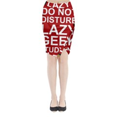 Do Not Disturb Lazy Geek Studying Glass Framed Poster Midi Wrap Pencil Skirt