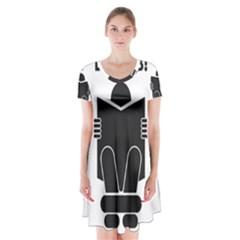 Do Not Disturb Sign Board Short Sleeve V-neck Flare Dress