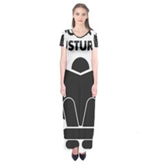 Do Not Disturb Sign Board Short Sleeve Maxi Dress
