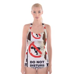 Do Not Disturb Sign Please Go Away I Don T Care Boyleg Halter Swimsuit