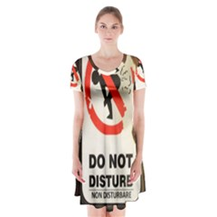 Do Not Disturb Sign Please Go Away I Don T Care Short Sleeve V-neck Flare Dress