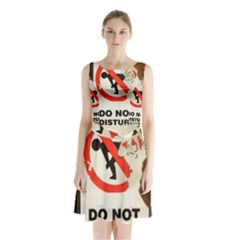 Do Not Disturb Sign Please Go Away I Don T Care Sleeveless Chiffon Waist Tie Dress