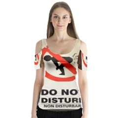 Do Not Disturb Sign Please Go Away I Don T Care Butterfly Sleeve Cutout Tee
