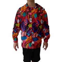 E Pattern Cartoons Hooded Wind Breaker (Kids)