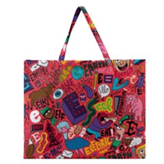 E Pattern Cartoons Zipper Large Tote Bag
