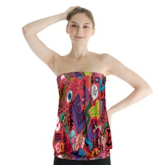 E Pattern Cartoons Strapless Top
