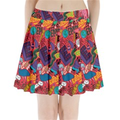 E Pattern Cartoons Pleated Mini Skirt