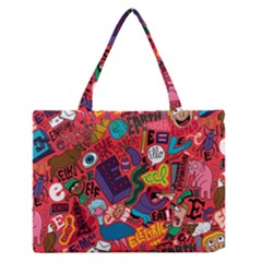 E Pattern Cartoons Medium Zipper Tote Bag