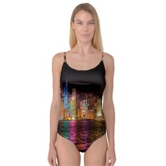 Light Water Cityscapes Night Multicolor Hong Kong Nightlights Camisole Leotard
