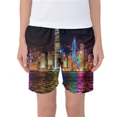 Light Water Cityscapes Night Multicolor Hong Kong Nightlights Women s Basketball Shorts