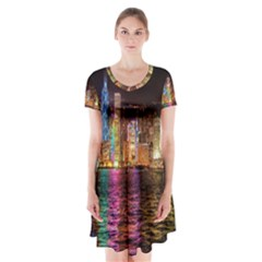 Light Water Cityscapes Night Multicolor Hong Kong Nightlights Short Sleeve V-neck Flare Dress