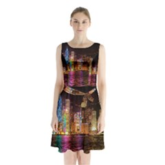 Light Water Cityscapes Night Multicolor Hong Kong Nightlights Sleeveless Chiffon Waist Tie Dress