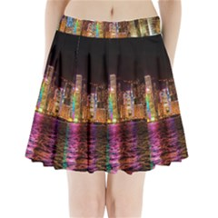 Light Water Cityscapes Night Multicolor Hong Kong Nightlights Pleated Mini Skirt