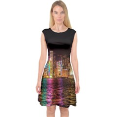 Light Water Cityscapes Night Multicolor Hong Kong Nightlights Capsleeve Midi Dress