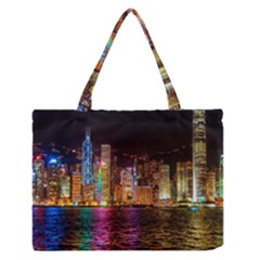 Light Water Cityscapes Night Multicolor Hong Kong Nightlights Medium Zipper Tote Bag