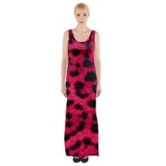Leopard Skin Maxi Thigh Split Dress