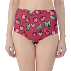 Cherry Cherries For Spring High-Waist Bikini Bottoms