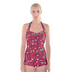 Cherry Cherries For Spring Boyleg Halter Swimsuit