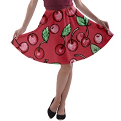 Cherry Cherries For Spring A Line Skater Skirt