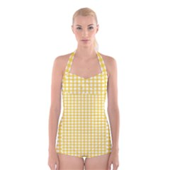 Deep Yellow Gingham Classic Traditional Pattern Boyleg Halter Swimsuit