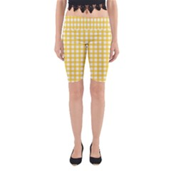 Deep Yellow Gingham Classic Traditional Pattern Yoga Cropped Leggings