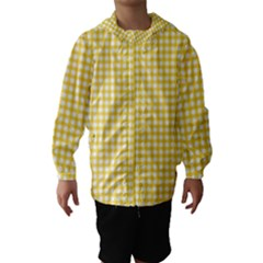 Deep Yellow Gingham Classic Traditional Pattern Hooded Wind Breaker (Kids)